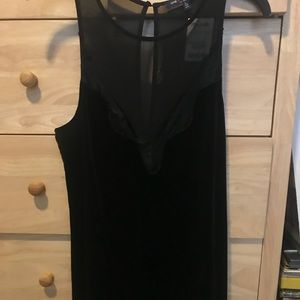Suede and mesh lace black dress
